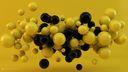 Spheres 3D jaunes et noires