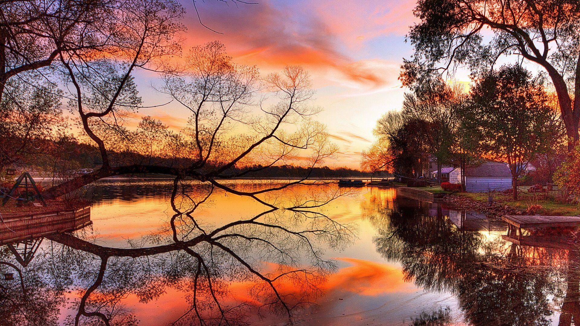 Reflet coucher de soleil sur le lac - 10 000 Fonds d'écran HD gratuits et de qualité ! Wallpapers HD