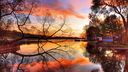 Reflet coucher de soleil sur le lac