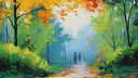 Peinture Automne balade - 1920x1080