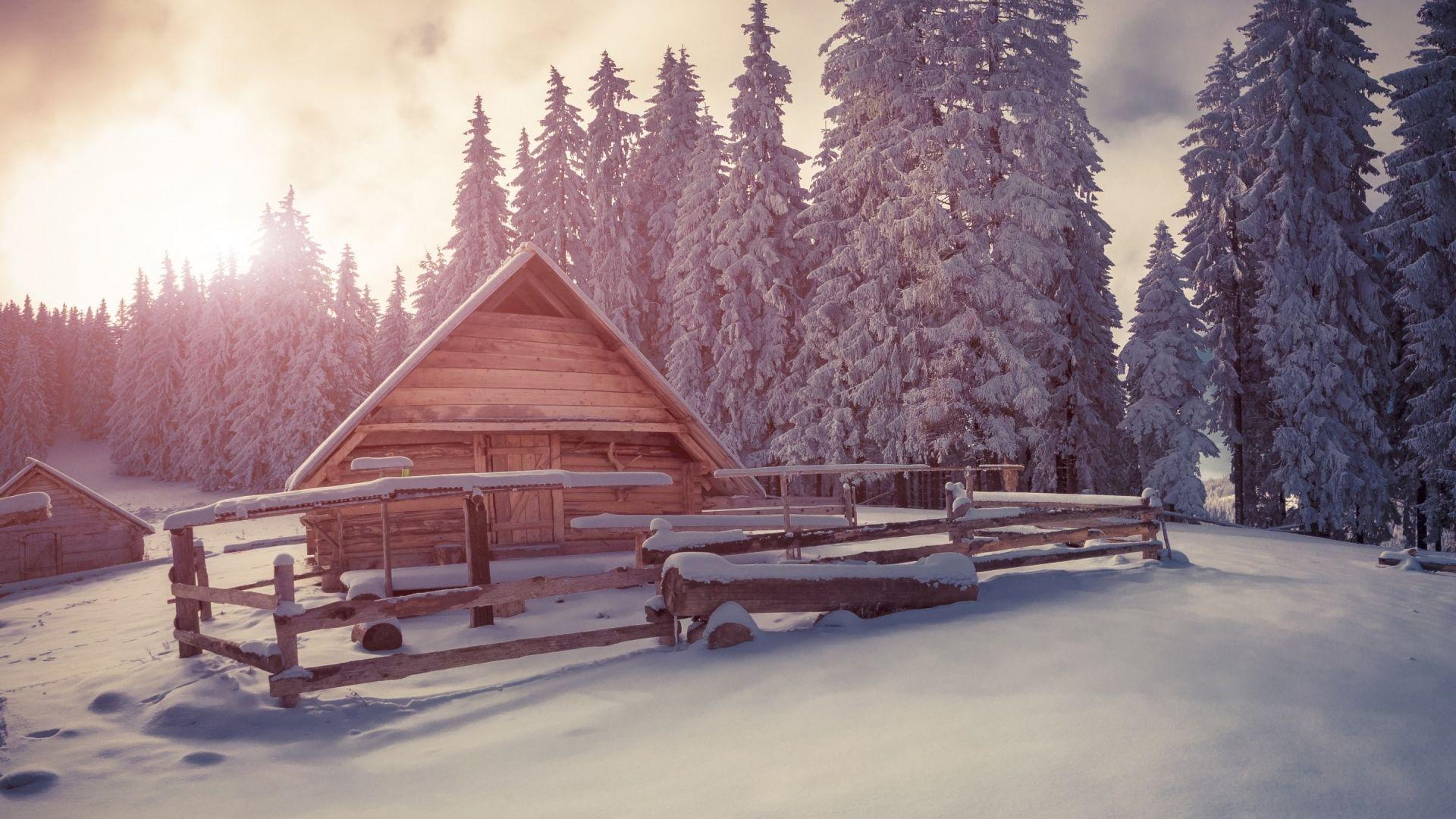 Maison en bois sous la neige 10 000 fonds d 39 cran hd - Source sous la maison ...