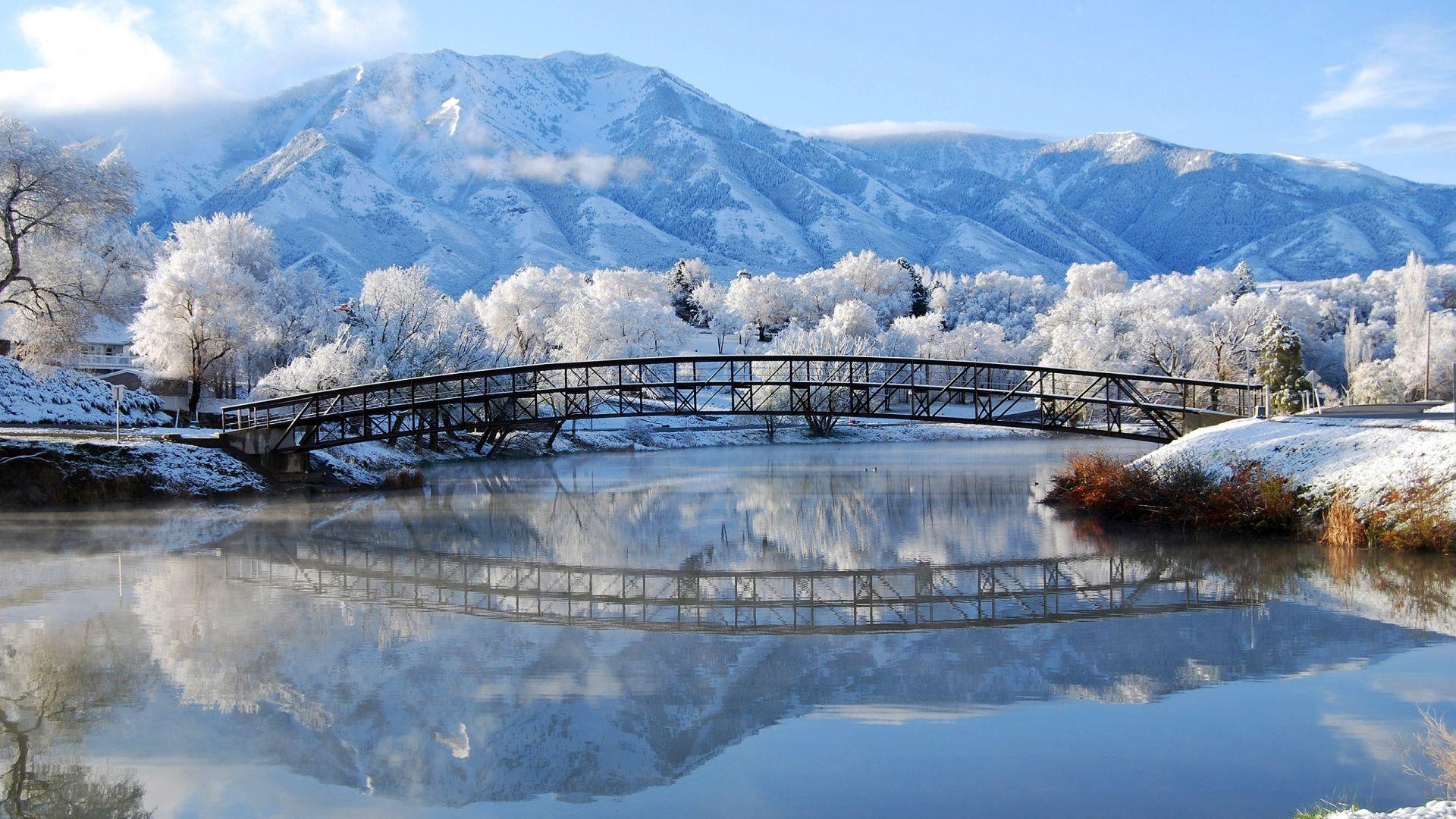 Assez Pont en hiver superbe paysage - 10 000 Fonds d'écran HD gratuits  WH21