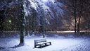 Banc sous la neige - fond écran HD