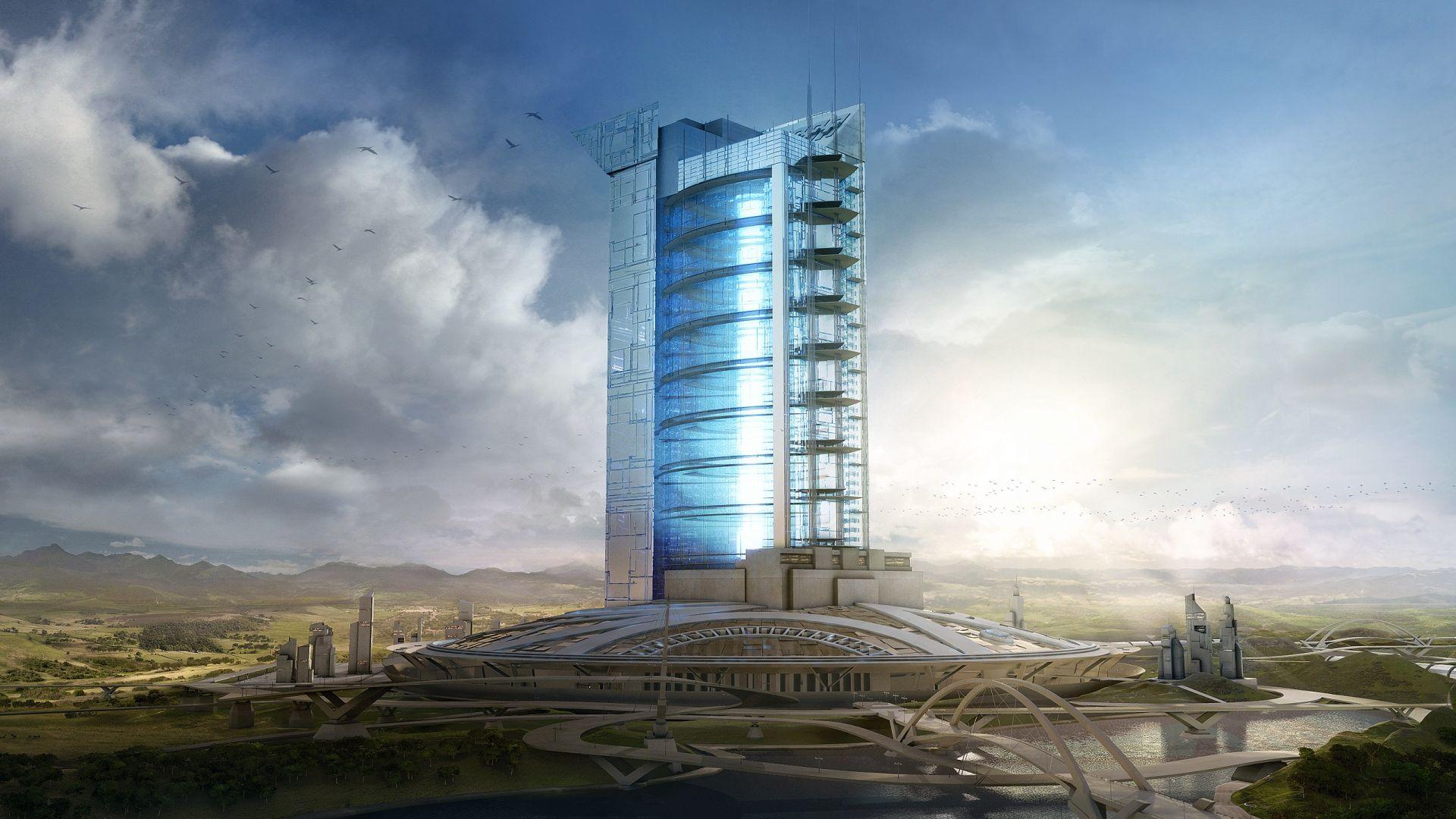 Architecture futuriste 3d 10 000 fonds d 39 cran hd for Architecture futuriste