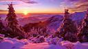 Lever de soleil dans les montagnes